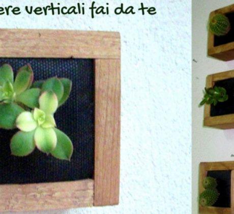Fioriere verticali fai da te, quadretto con piante grasse